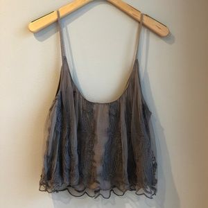 Urban Outfitters Kimchi Blue Grey Lace Tank Top